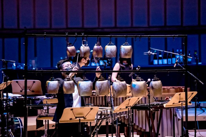 Percussionist Joachim Lim in Morse Percussion in Ghosts Of Yesteryear.