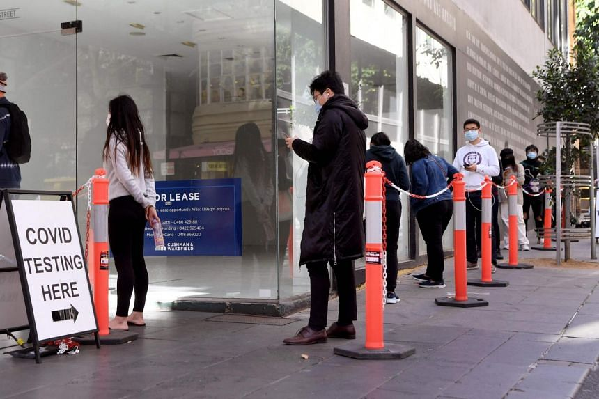 People queueing for Covid-19 testing in Melbourne earlier this month.