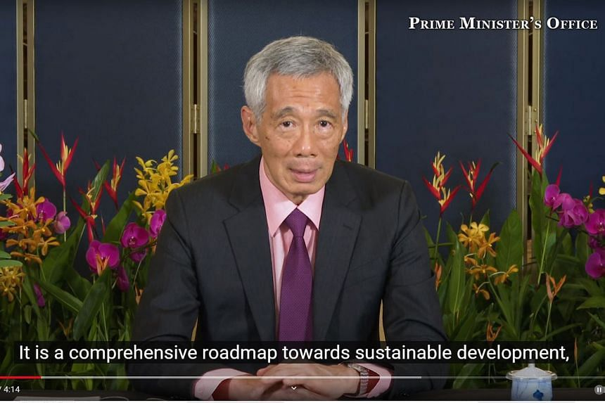A screengrab of Prime Minister Lee Hsien Loong speaking at the virtual roundtable with Commonwealth leaders yesterday, when he said the world must not take its eye off the global climate agenda as it grapples with Covid-19.