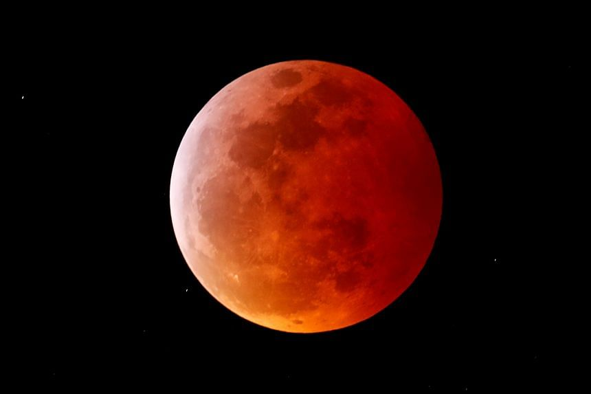 A super blood wolf moon seen from Encinitas, California, on Jan 20, 2019. The total lunar eclipse on May 26 will be the first since 2019.