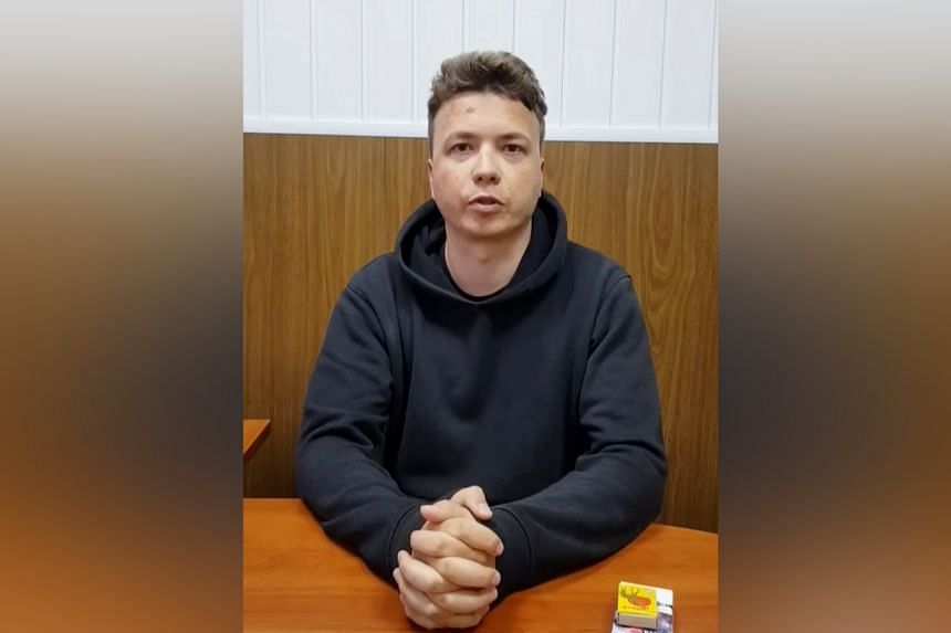 Belarusian blogger Roman Protasevich is seen in a pre-trial detention facility, as he says, in Minsk, on May 24, 2021 in this still image taken from video.