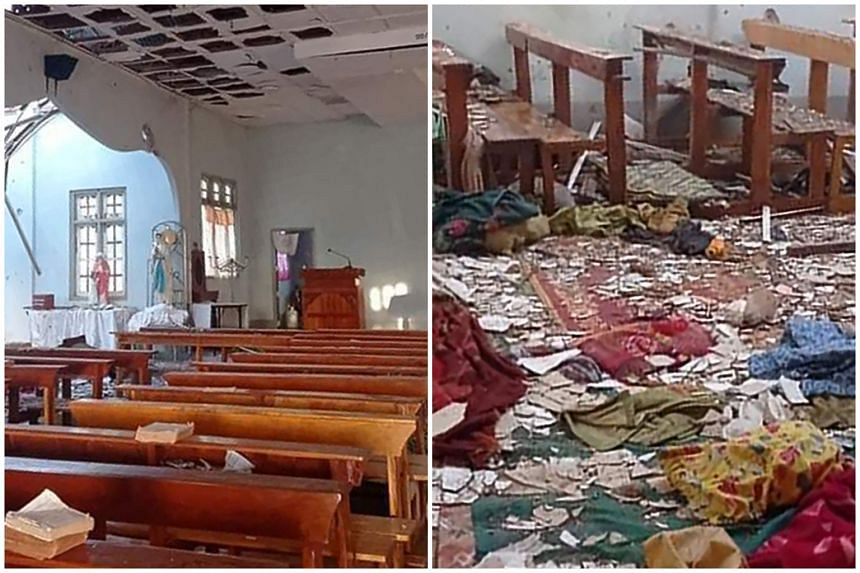 A damaged church in which four people taking refuge were killed in Kayah, Myanmar, on May 24, 2021.