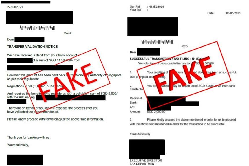 Samples of fake letters purportedly from government agencies.