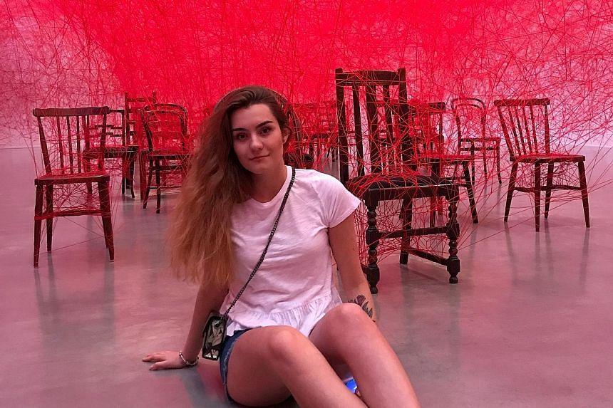 Ms Sophia Sapega, seen here in an undated photo taken in 2019, was arrested in Belarus along with her boyfriend, Mr Roman Protasevich.