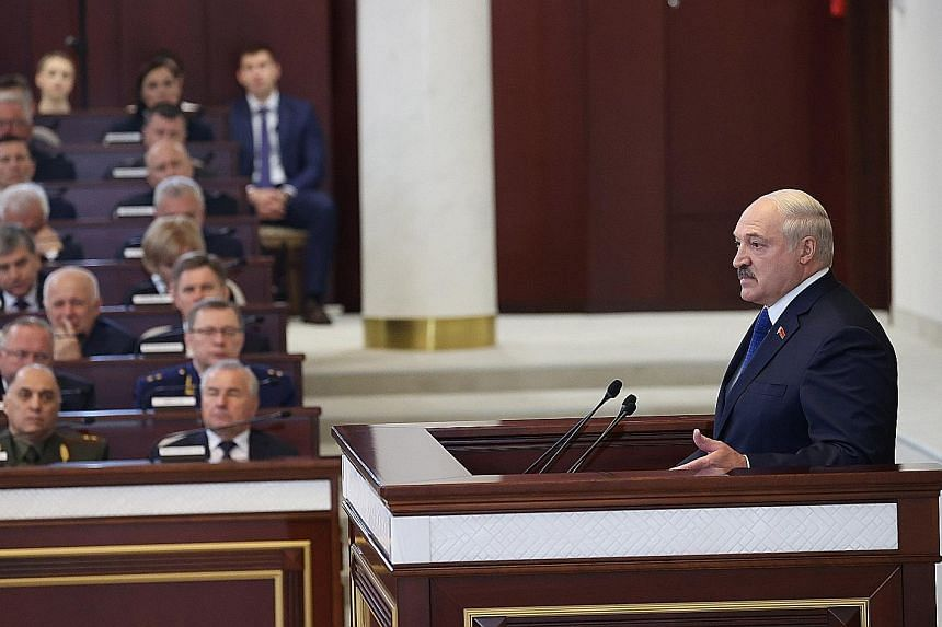 """Belarusian President Alexander Lukashenko speaking to parliamentarians, members of the Constitutional Commission and representatives of government bodies, at the Parliament in Minsk yesterday. He said """"ill-wishers"""" accusing him of air piracy have """"cr"""
