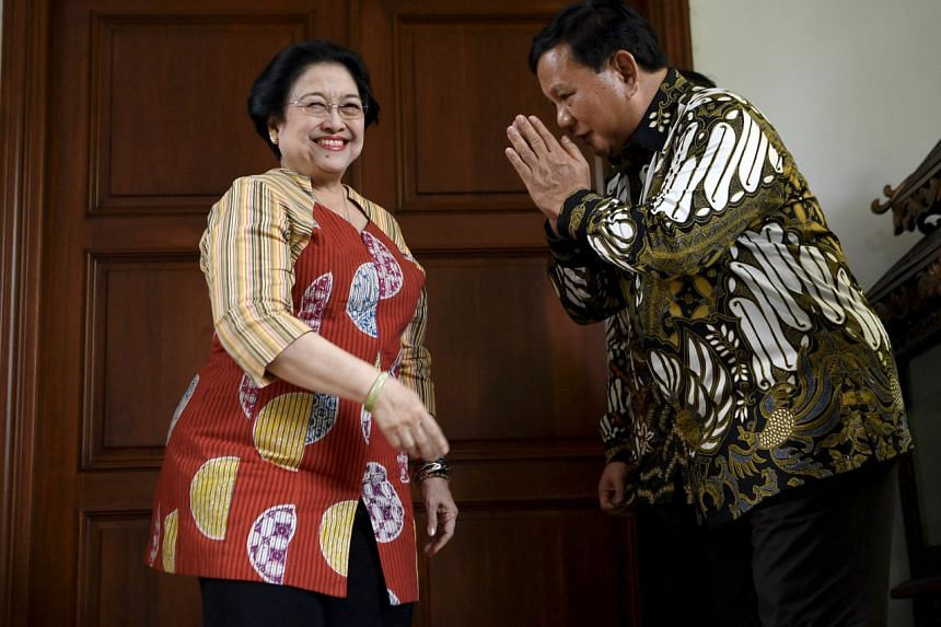 Head ofIndonesia'sopposition partyGerindra, MrPrabowo Subianto, meeting Ms MegawatiSukarnoputri,chief of ruling party IndonesianDemocratic Party of Struggle, on July 24, 2019
