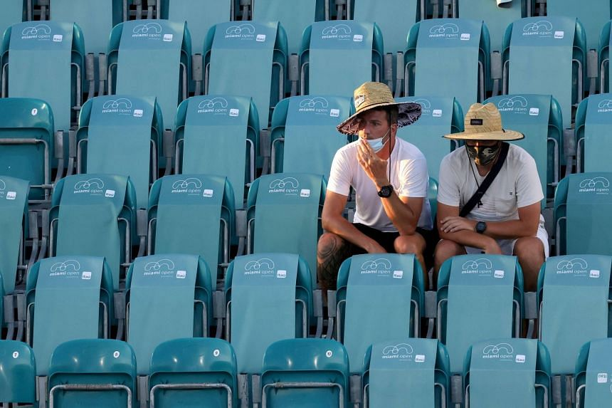 Fans attend the 2021 Miami Open tennis tournament in March 2021.