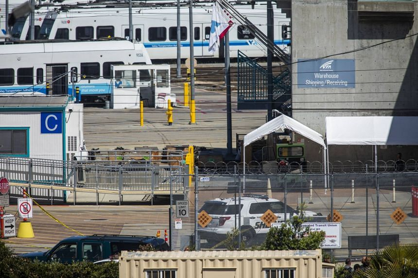 A view of the Valley Transportation Authority light-rail yard where a mass shooting occurred on May 26, 2021.