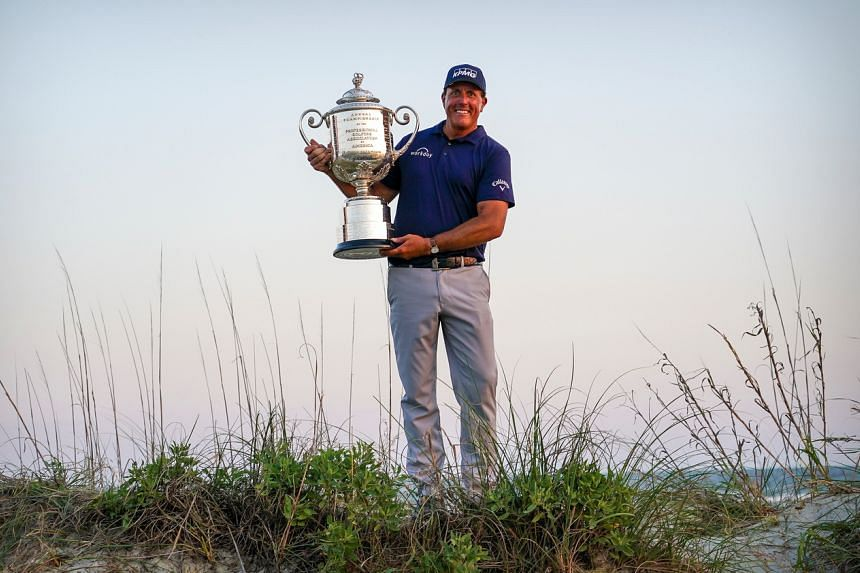 Phil Mickelson with the Wanamaker Trophy after winning the PGA Championship golf tournament in South Carolina, on May 23, 2021.