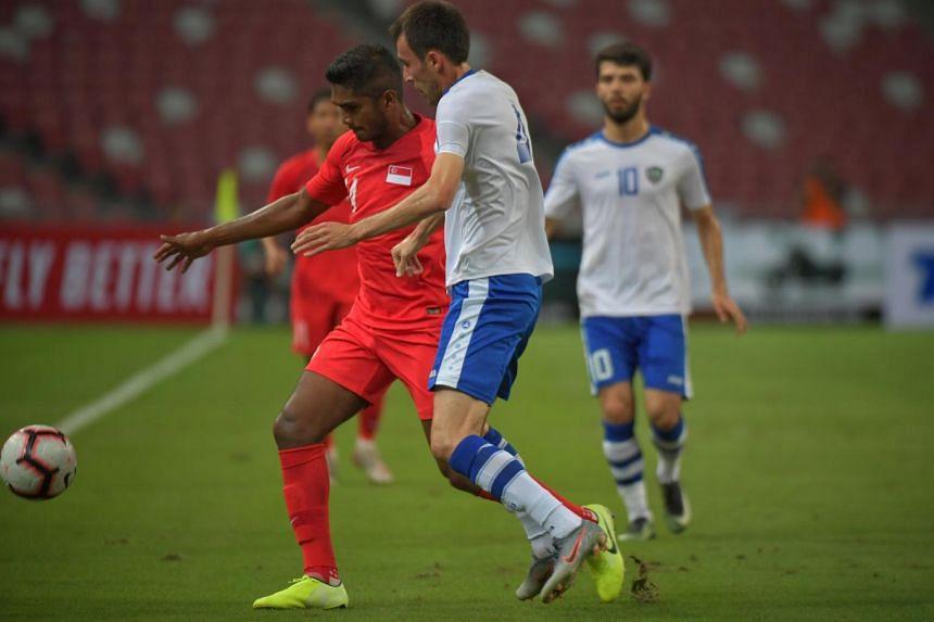 Hariss Harun in Singapore's World Cup qualifier against Uzbekistan in October 2019.