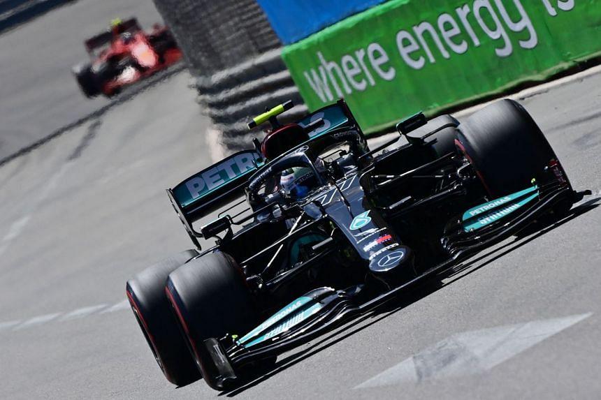 Mercedes' Valtteri Bottas drives during the Monaco grand prix on May 23, 2021.