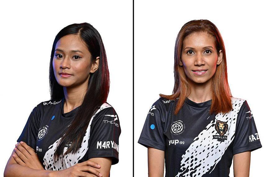 """Nur """"M4ryjane"""" Haafizhoh (left) and her mother Siti """"Hazel"""" Suriyanti are both members of e-sports team Newgank, and will be competing at the upcoming Free Fire World Series 2021."""
