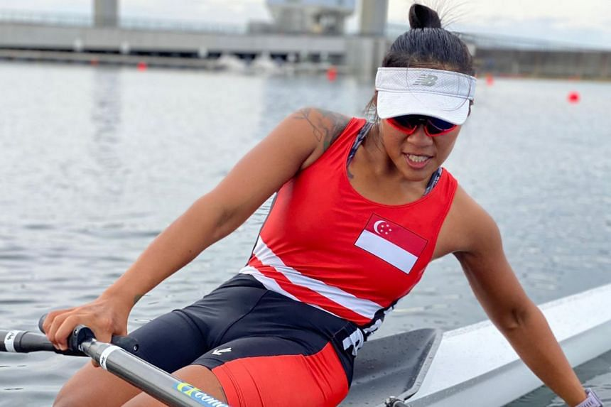 Singapore rower Joan Poh at the Asia and Oceania qualification regatta in Tokyo, which took place on May 6 and 7, 2021.