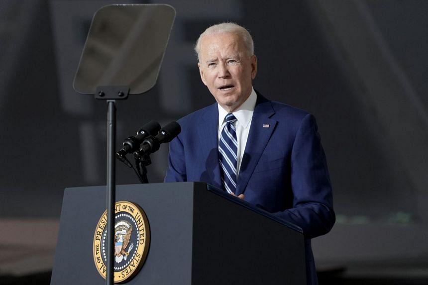 US President Joe Biden delivers a speech while visiting Joint Base Langley-Eustis in Hampton, Virginia.