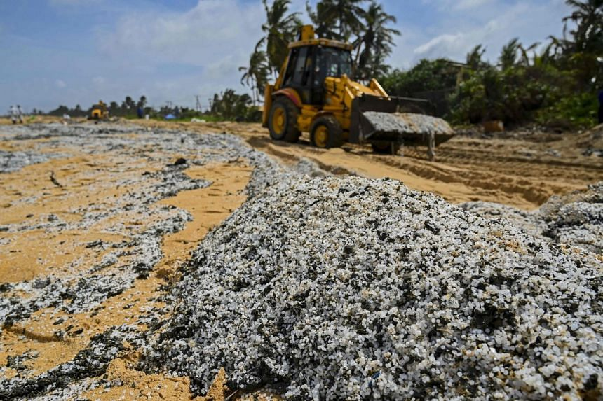 Sri Lanka's Marine Protection Authority said the microplastic pollution could cause years of ecological damage to the Indian Ocean island.