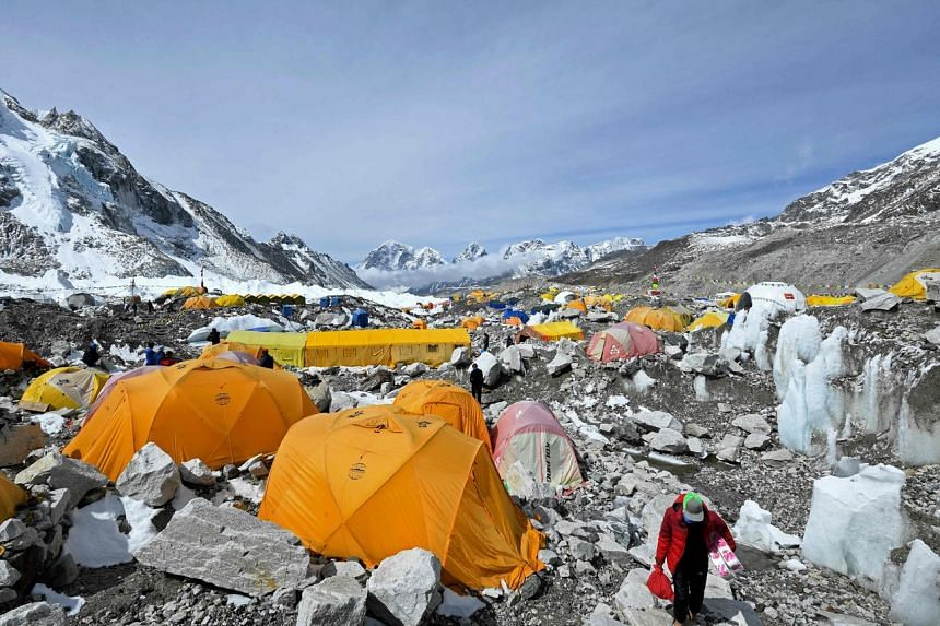 Tents of mountaineers are pictured at the Everest base camp in the Mount Everest region of Solukhumbu district, on May 3, 2021.