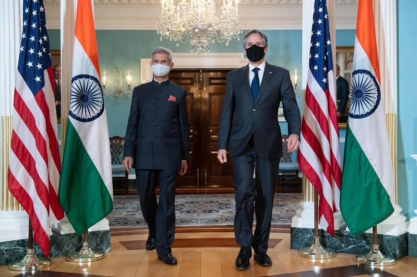 Indian Foreign Minister Subrahmanyam Jaishankar (left) and US Secretary of State Antony Blinken at the State Department in Washington, on May 28, 2021.