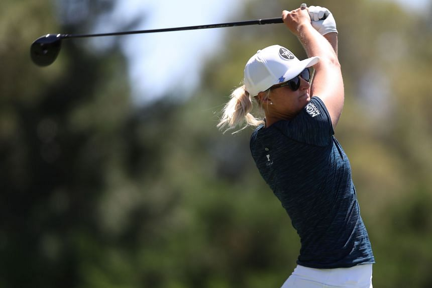 Anna Nordqvist tees off during the Bank of hope Match-Play at Shadow Creek, in Las Vegas, on May 28, 2021.