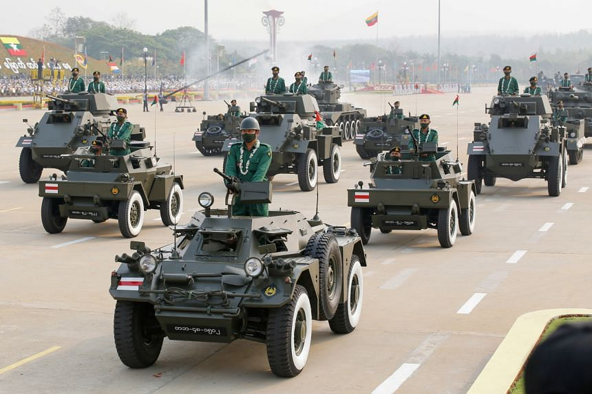 Military personnel in a parade on Armed Forces Day in Naypyitaw, Myanmar, on March 27, 2021. The military seized power in a coup on Feb 1.