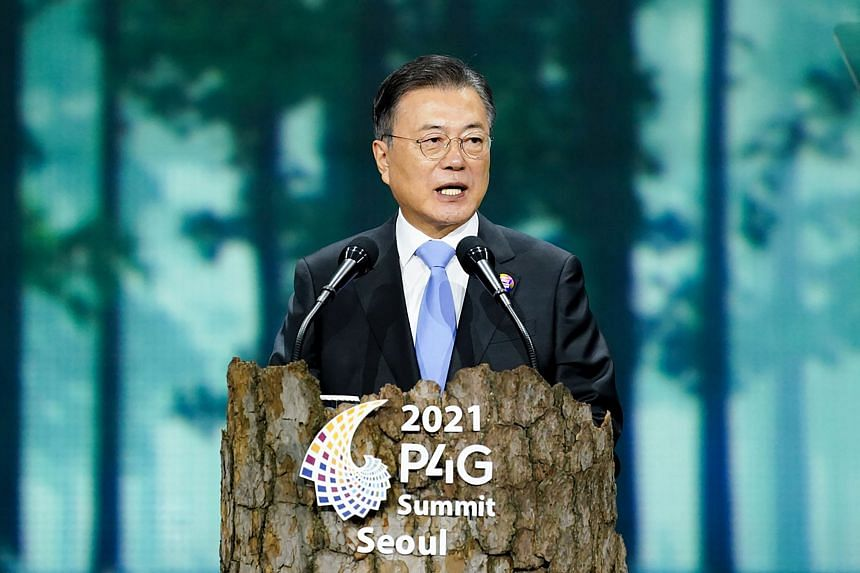 South Korean President Moon Jae-in also said the country would raise its emissions reduction goal.