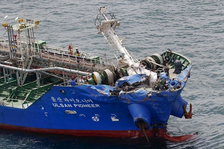 An aerial view shows the bow of Marshall Islands-registered chemical tanker Ulsan Pioneer, damaged after a collision with Japanese cargo ship Byakko on May 28, 2021.