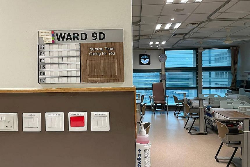 Ward 9D, the epicentre of the Covid-19 outbreak at Tan Tock Seng Hospital. The hospital cluster was one of two community clusters - the other being Changi Airport - where the B1617 variant had surfaced in Singapore. ST FILE PHOTO
