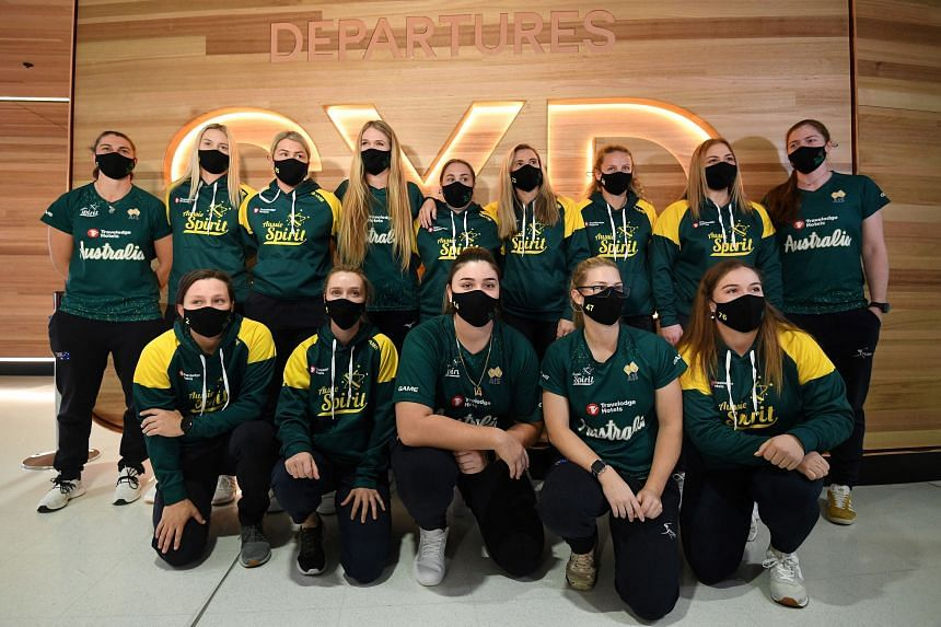 Australian softball players at the Sydney International Airport on May 31, 2021.