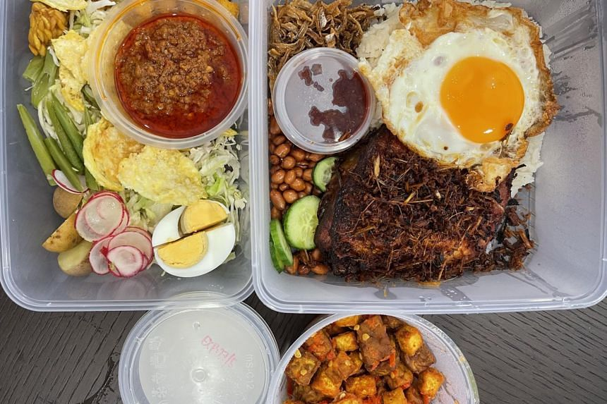 (Clockwise from top left) Tahu tempeh sambal belado, coconut jelly, gado gado and Nasi Lemak with French poulet leg from Coconut Club.
