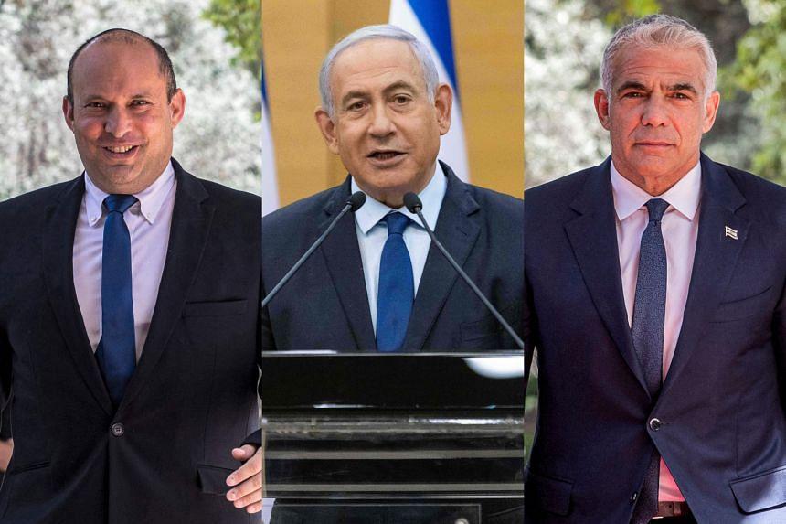 (From left) Mr Naftali Bennett, Israel PM Benjamin Netanyahu and Mr Yair Lapid.