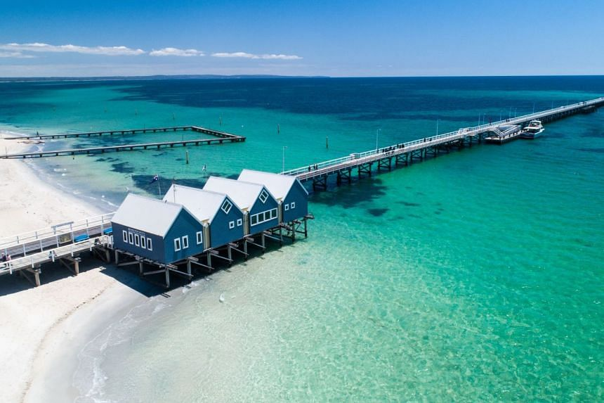 At 1.841 km long, Busselton Jetty in Western Australia (pictured) is the longest timber-piled jetty in the Southern Hemisphere and one of the most scenic spots in Australia. PHOTO: TOURISM AUSTRALIA