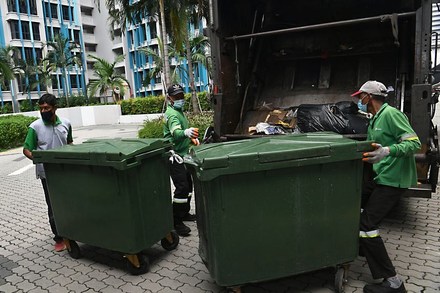 However, three blocks at Alkaff CourtView in Bidadari estate are still having their rubbish collected by workers for the time being.