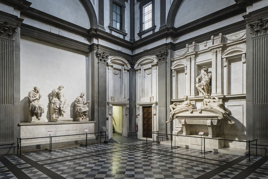 The New Sacristy gleams after a lengthy period of restorations at the Medici Chapel in Florence, Italy, on May 24, 2021.