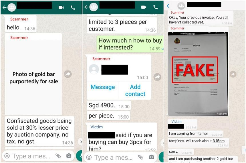 The scammers tempt the victim into buying gold bars they claim are being sold at 30 per cent below the market rate.