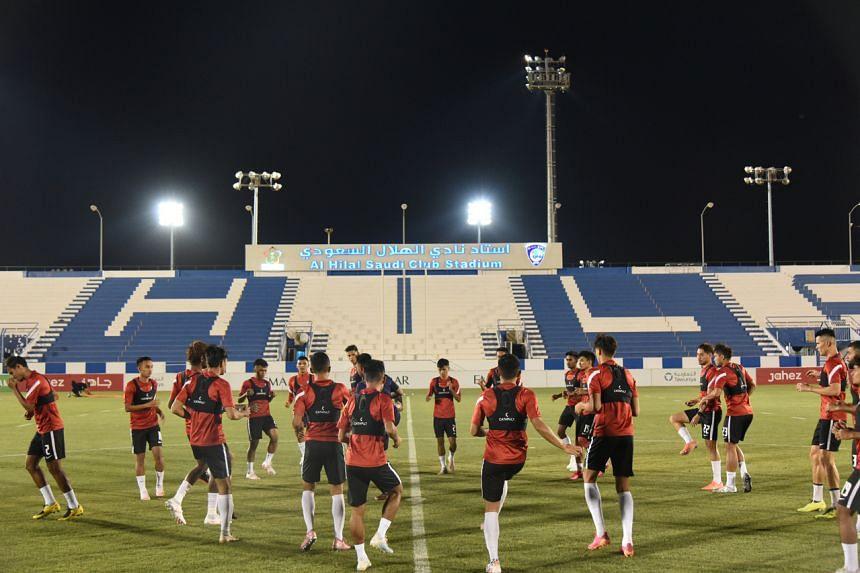 The Lions train at Al Hilal Stadium in Riyadh ahead of their qualifier against Palestine.