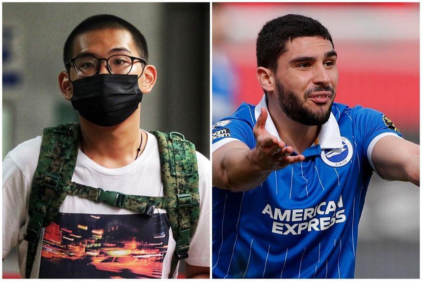 Derek Ng (left) had sent footballer Neal Maupay threatening messages via social media platform Instagram.
