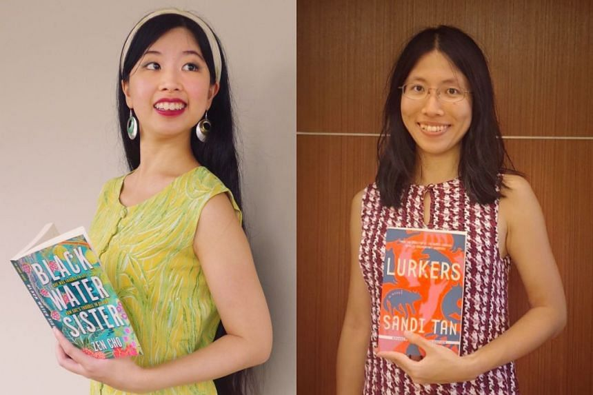 In this episode of Bookmark This! podcast, Olivia Ho (left) and Toh Wen Li (right) discuss Lurkers by Sandi Tan and Black Water Sister by Zen Cho