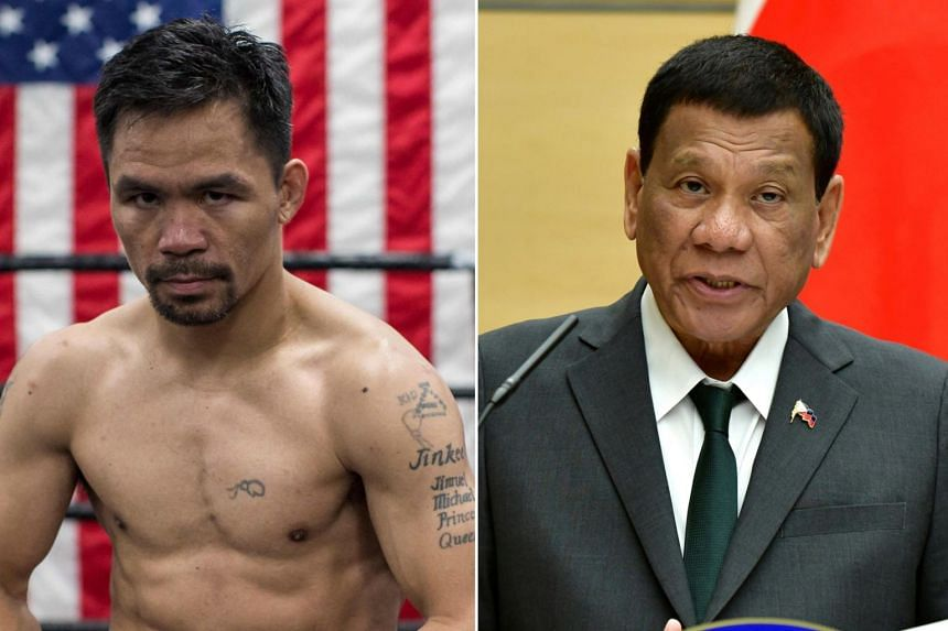 Manny Pacquiao (left) has been a loyal ally to Rodrigo Duterte since his shock election win in 2016.
