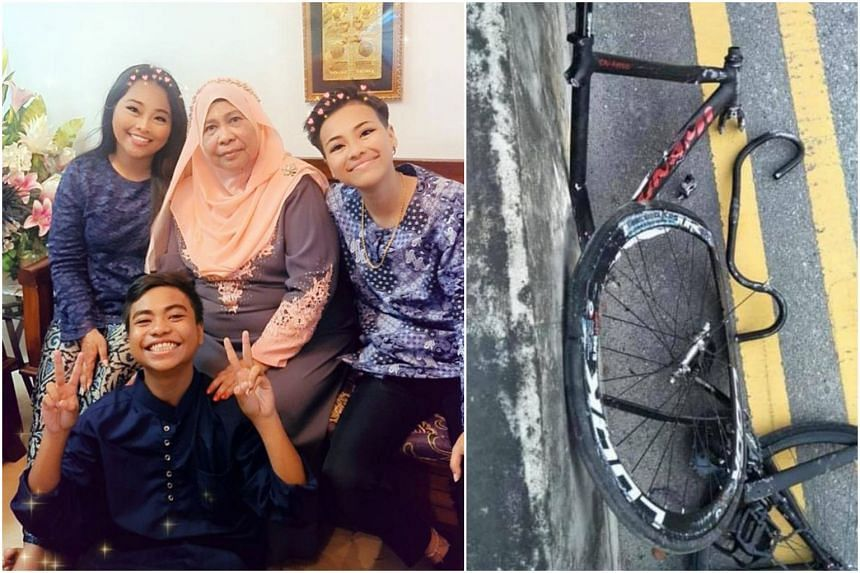 Muhammad Nur Shazly Mohd Ali with his grandmother and two sisters during a recent gathering. The 14-year-old was killed in a road accident with a truck on May 31.