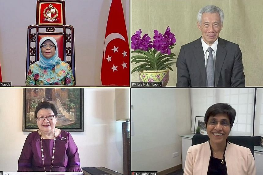 (Clockwise from top left) President Halimah Yacob with Prime Minister Lee Hsien Loong, Dr Sudha Nair and Mrs Mildred Tan at the swearing-in ceremony held virtually from the Istana yesterday.