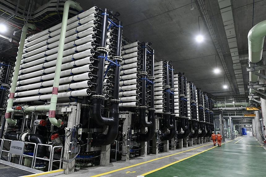 The Keppel Marina East Desalination Plant's recreational space is accessible to the public, and its treatment facility and pumping station (below) are underground.