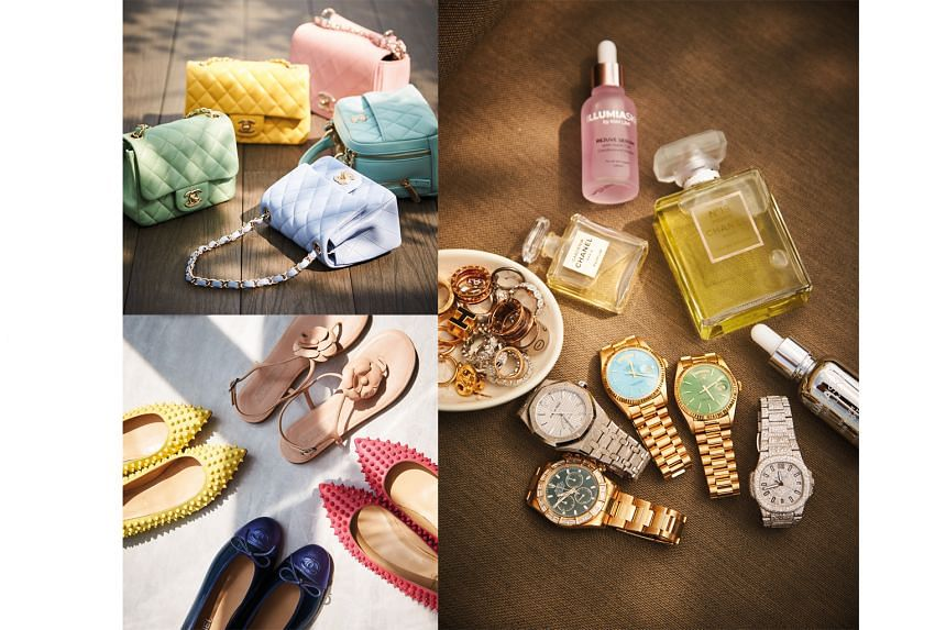 Lim's collections of (clockwise from above) flats, Chanel classic bags in pastels, scents and accessories.