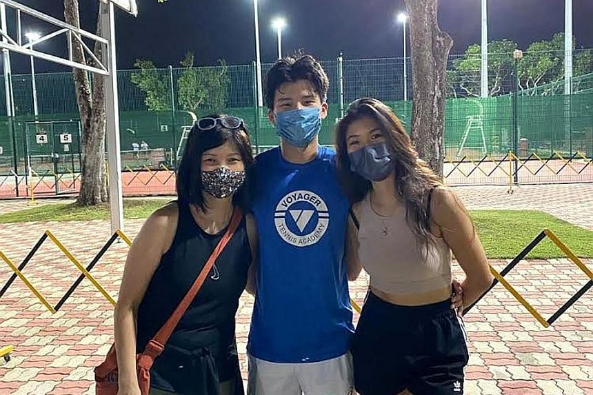 Vera Ong (left, with son Ethan Lye and daughter Sasha) moved with him to Chiang Mai, where he studied and trained for two years, and then Sydney to chase his dream of being a pro tennis player.