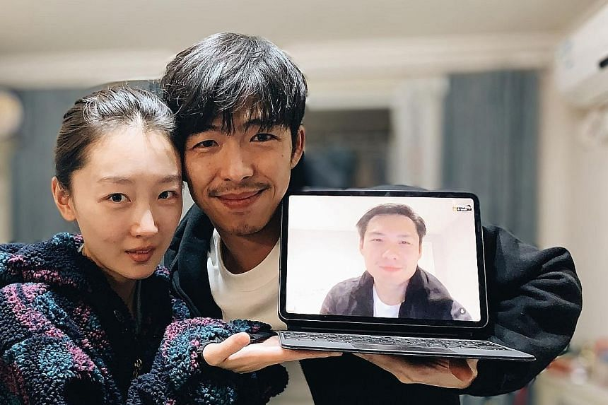 (From far left) The Break Away actress Zhou Dongyu and actor Zhang Yu with film-maker Anthony Chen (on laptop screen), who directed the film remotely from London.