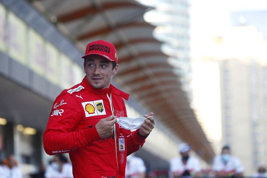Ferrari's Charles Leclerc reacts after qualifying in pole position in Baku, Azerbaijan, on June 5, 2021.