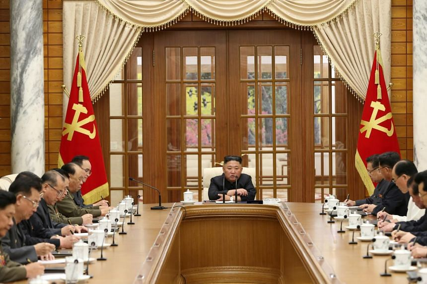 North Korean leader Kim Jong Un presides over a meeting of the Political Bureau of the 8th Central Committee in Pyongyang, on June 4, 2021.