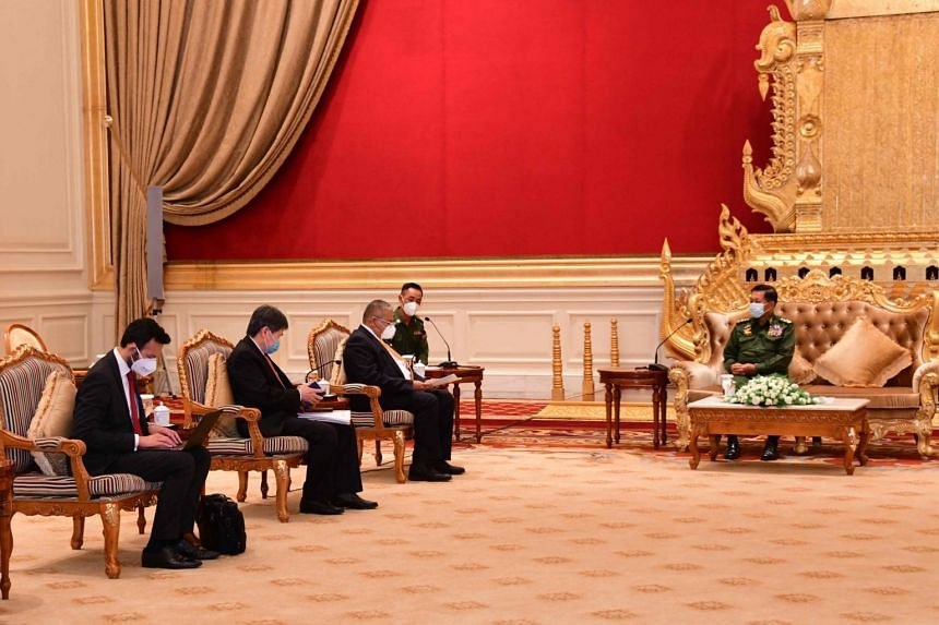 Asean Secretary-General Lim Jock Hoi (second from left) and Erywan Yusof (third from left) and Myanmar's military ruler Min Aung Hlaing during a meeting in Naypyidaw, Myanmar, on June 4, 2021.