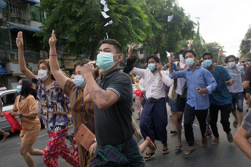 Protesters in Yangon on June 3, 2021. Anti-junta protests take place daily in many parts of Myanmar.