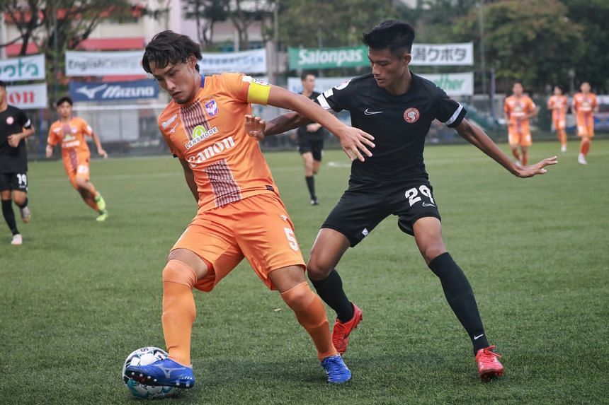 Albirex Niigata's Kazuki Hashioka (left) in action against Young Lions' Raoul Suhaimi during a Singapore Premier League match at Jurong East Stadium, on May 15, 2021.