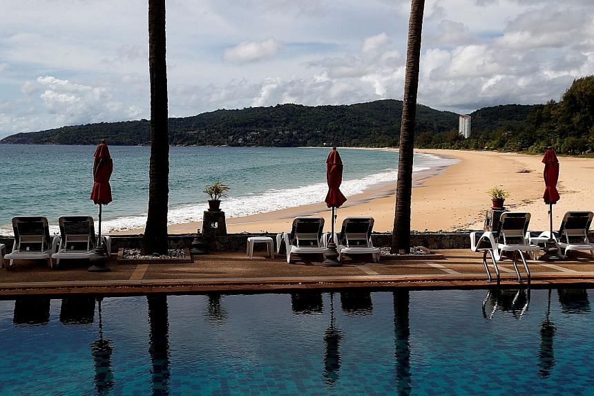 An empty hotel and beach in Karon, Phuket, in March. Thailand lost about US$50 billion (S$66.2 billion) in tourism revenue last year, with Phuket, which is visited by about a quarter of foreign tourists in the country, badly hit.