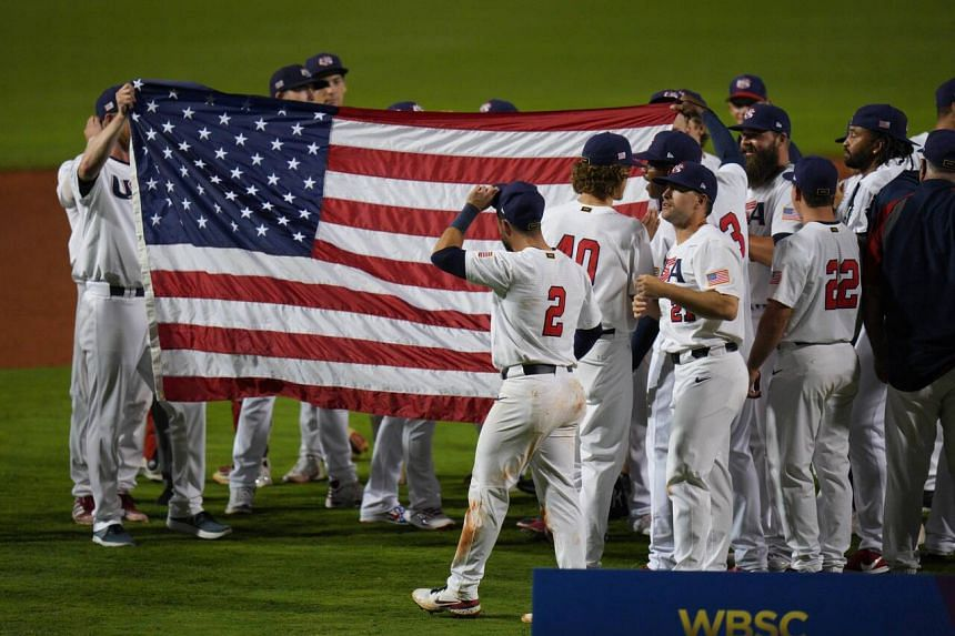 The United States celebrates after defeating Venezuela in Florida, US, on June 5, 2021.